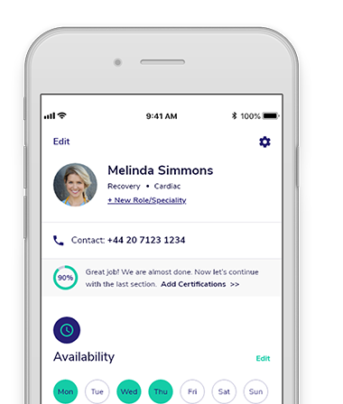 Nurse's profile on Rohme app